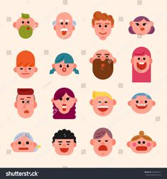 various people character faces icon vector illustration flat design Flat Design Illustration, Face Illustration, Illustrations, Character Flat Design, Vector Game, Face Icon, Face Design, Cute Characters, Digital Art