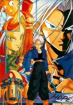 Trunks Mirai, Android N°18, Android N°17, Goku, Bulma. #dragonball #manga #anime #geek #hope