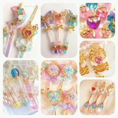 Sparkly/Magical Girl Jewelry with a fairy kei kawaii mix Kawaii Jewelry, Kawaii Accessories, Cute Jewelry, Jewlery, Fun Crafts, Diy And Crafts, Magical Jewelry, Resin Charms, Resin Art