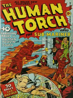 The Human Torch n°3, Winter 1940, cover by Alex Schomburg.