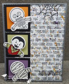 by Lisa: Cookie Cutter Halloween, Spooky Fun, Gorgeous Grunge, Halloween Night dsp & enamel dots, Cookie Cutter Punch, Layering Squares framelits - all from Stampin' Up!