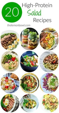 collection of twenty delicious high-protein salad recipes for you to enjoy for lunch or dinner.A collection of twenty delicious high-protein salad recipes for you to enjoy for lunch or dinner. High Protein Salads, High Protein Recipes, Protein Snacks, Healthy Protein, Healthy Salad Recipes, Healthy Snacks, Lentil Recipes, Lunch Recipes, Vegan Recipes