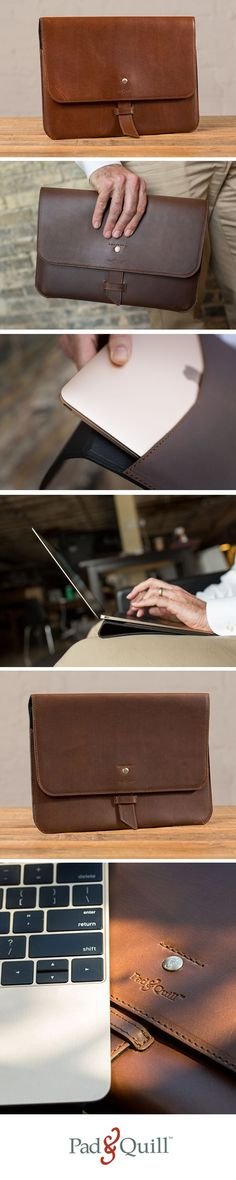 The Valet Slim Portfolio for MacBook fits like a glove, providing protection as well as a foldable front flap you can use as a portable lap desk.