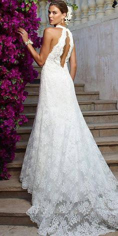 24 Modern Wedding Dresses From Top USA Designers ❤ modern wedding dresses sheath open back floral lace embellishment casablanca bridal ❤ Full gallery: https://weddingdressesguide.com/modern-wedding-dresses/
