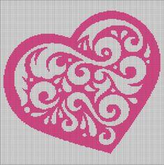 PINK HEART CROCHET AFGHAN PATTERN GRAPH