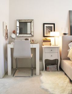 Love the vanity right next to the bedside table & bed : )