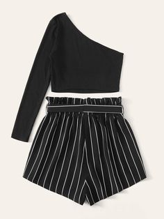 One Shoulder Top & Paperbag Waist Striped Shorts Set Teen Fashion Outfits, Outfits For Teens, Girl Fashion, Casual Outfits, Fashion Dresses, Casual Shorts, Two Piece Outfit, Two Piece Skirt Set, Pretty Outfits