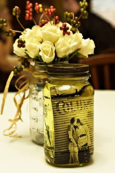 Mason photo jars. LOVE. Fill the jar with Olive Oil and add picture and it gets that cool sepia look!... @valerie stine