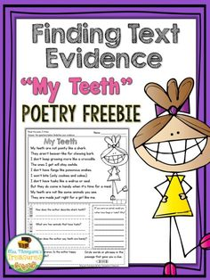 "Free ""My Teeth"" Poem - Comprehension & Text Evidence   Perfect for Dental Health Month or anytime of the year! With this cute poem about teeth students will practice fluency comprehension citing text evidence and making inferences!  Get the free download HERE!  3-5 activities for Dental Hygiene month comprehension free making inferences Mrs. Thompson's Treasures Poetry teeth text evidence"