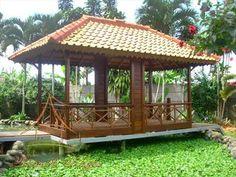60 Pictures of Minimalist Bamboo and Wood Gazebo Designs minimalis Large Gazebo, Screened Gazebo, Hot Tub Gazebo, Large Backyard, Pergola, Small Bar Areas, Thatched Roof, Built In Bench, Large Homes