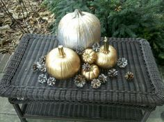 Christmas pumpkins!   Spray paint your fall pumpkins and gourds in metallics for Christmas.