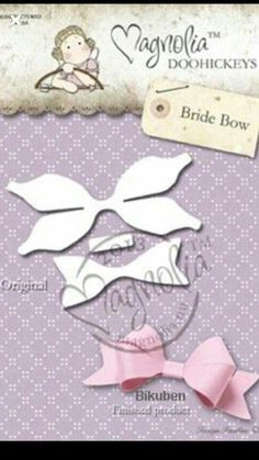 Magnolia Stamps DooHickey 121 - Lost & Found - Bride Bow Diy Hair Bows, Diy Bow, Felt Bows, Ribbon Bows, Ribbons, Diy Headband, Baby Headbands, Bow Template, Barrettes