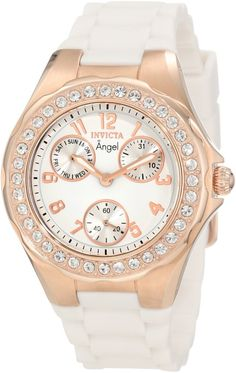 women's watches:  White Watches Invicta Women's 1646 Angel Jelly Fish Crystal Accented White Dial Watch