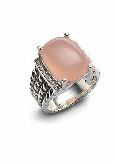 David Yurman Pink Opal, Diamond & Sterling Silver Oval Ring on shopstyle.com