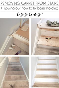 ideas basement stairs ideas staircase remodel removing carpet for 2019 Redo Stairs, Basement Stairs, House Stairs, Stair Redo, Refinish Stairs, Diy Stair, Basement Carpet, Basement Plans, Basement Ideas