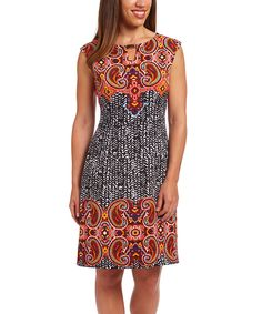 Another great find on #zulily! Orange & Black Paisley Sheath Dress by ILE New York #zulilyfinds