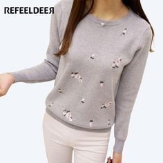 Refeeldeer 2017 Embroidery Floral Knitted Sweater Women Winter Sweaters And Pullovers Female Tricot Top Jumper Pull Femme