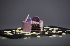 """Individual cake """"Violet"""" from our fall/winter collection-Composition:pistachio jacconde, blueberry confit with scent of anis and cloves,Greek yogurt mousse with honey,blueberry mousse."""