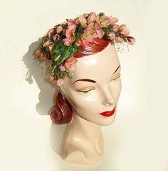Vintage 50s BesBen Hat Pink Floral Dogwood by metroretrovintage, $295.00