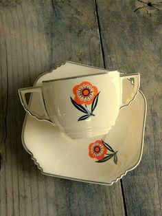 LEIGH Ware Mayfair: Art Deco Cream Soup or Bouillon Cup & Saucer Set, Ultra Shape