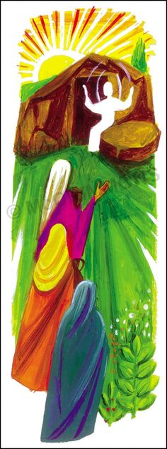 """The Easter Gospel by The Benedictine Sisters of Turvey Abbey, available as a Banner and Poster, various sizes. SPECIAL OFFER 52"""" x 24""""/132cm x 60cm BANNER SIZE AT £99.00 + VAT (regular price £130.00 + VAT)"""