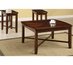 Naren Dark Cherry 3-Piece Coffee and End Table Set | 55DowningStreet.com