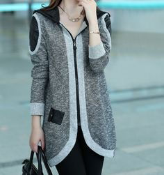 Fashion Hooded Zipper Knit Splicing Long Sleeves Design Women's Trench CoatCoats | RoseGal.com