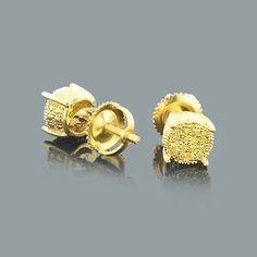 Yellow Diamond Stud Earrings 0.25ct Sterling Silver