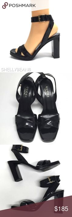 97e2c25b318 GUCCI Black Patent ANKLE WRAP Heels Sandals 6.5 SIZE 6.5 MED width. GLOSSY  BLACK PATENT