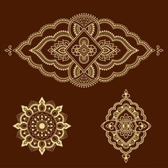 Set of ornamental patterns in the oriental style. Oriental Style, Oriental Fashion, Mehndi Style, Doodles Zentangles, Best Stocks, Flower Template, Flower Tattoos, Royalty Free Photos, Henna