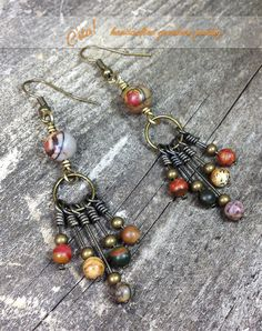 Rustic Red Creek Picasso Jasper Earrings in by CstaDesigns on Etsy