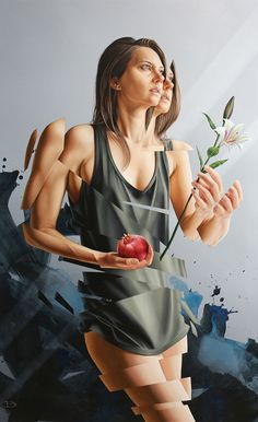 """From This Moment"" - James Bullough, oil on wood {figurative #surrealism art female torso painting} jamesbullough.com"