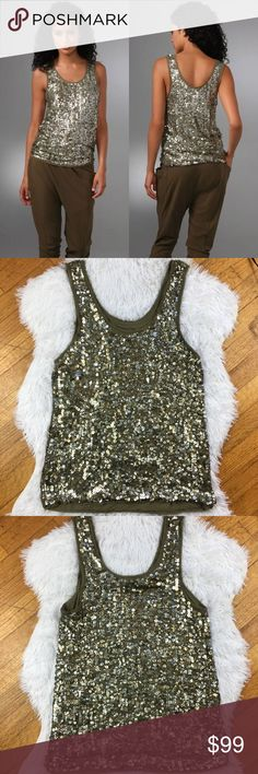Alice Olivia green sequin tank top large silk Olive green silk tank with sequin and paillette embellishments throughout, scoop neckline and raw edge trim. This garment is on the heavier side because of the amount of embellishment. New without tags but the 7th picture does show a small part on the torso area that has lost some sequins (not really obvious when it's on). Retail $396. All items come from a smoke-free and pet-free home. Please ask all questions before buying or bidding as I do…