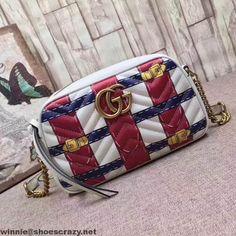Gucci GG Marmont Trompe L'oeil Leather Small Shoulder Bag 447632 2017