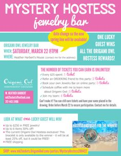Can change this up for Premier Designs...Mystery Hostess Jewelry Bar! One lucky guest wins all the hostess rewards! Earn entries by placing orders, hosting your own jewelry bar or just coming the the party! Contact me via Facebook for the details!  https://www.facebook.com/pages/Origami-Owl-Heather-Harbert-Independent-Designer/1459953477562277