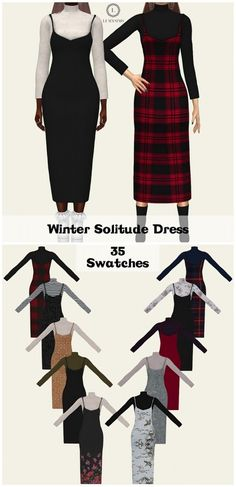 Lumy Sims - Winter Solitude Dress for The Sims 4