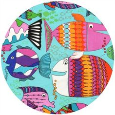 Timeless Treasures, Colorful Fish Turquoise