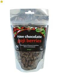 Raw Chocolate Goji Berries - greato eat on their own or try in chocolate recipes - use to decorate a vegan chocolate cake.
