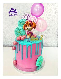 Paw patrol cake #pawpatrol #skye #dulceemy #cake #tarta # dripcake #pink #rosa #turquesa #eventos #cumpleaños Girls Paw Patrol Cake, Skye Paw Patrol Cake, Torta Paw Patrol, Pink Birthday Cakes, Themed Birthday Cakes, 3rd Birthday, Birthday Ideas, Paw Patrol Birthday Theme, Bake My Cake