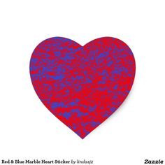 Red & Blue Marble Heart Sticker