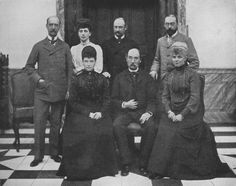 King Christian IX of Denmark flanked by his children, 1903. Top, from L-R: King George I of Greece; Alexandra; Crown Prince Frederick, the future King Frederick VIII of Denmark; Prince Waldemar of Denmark. Bottom, from L-R: Dagmar; King Christian; Thyra, Crown Princess of Hanover and Duchess of Cumberland.