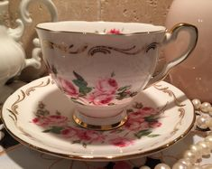 "Royal Stafford Tea Cup and Saucer Hand Painted in ""Bridesmaid"" c. 1950"