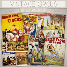 Circus Digital Collage Sheet: Vintage Circus