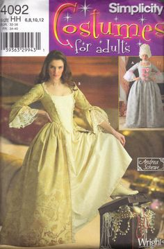 Simplicity 4092 Marie Antoinette Sewing Pattern Costume