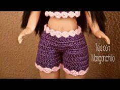 Crochet Teddy Bear Pattern, Crochet Bikini Pattern, Crochet Shorts, Knit Or Crochet, Cute Crochet, Crochet Doll Clothes, Crochet Dolls, Barbie Dress, Barbie Clothes