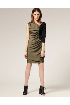 Sheath/Column Knee-length Natural 3/4-Length Sleeve Homecoming Dress HD25A8