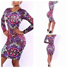 WOMEN LONG SLEEVE O-NECK SEXY BANDAGE BODYCON DRESS DIGITAL PRINT NEW STYLE CASUAL CLUB WEAR COCKTAIL PARTY DRESSES