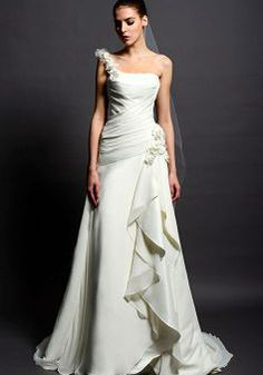 Popular A line Chiffon Floor Length One Shoulder Wedding Dress With Ruffles | BlackFive