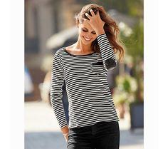 Prúžkované tričko s kontrastnými detailmi | modino.sk #ModinoSK #modino_sk #modino_style #style #fashion #autumn #fall #bestseller #jesen T Shirt, Outfit, Tops, Women, Fashion, Striped T Shirts, Full Sleeve T Shirts, Full Sleeves, Pants