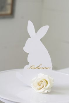 Link to FREE Printable Bunny Rabbit Template to Make Custom Personalized Easter Place Setting Cards.  Can also use to Make Easter Menu, Buffet Table Display & Centerpieces.  Bunny with Carnation Tail.